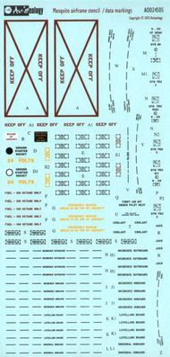 SkyGrid/Aviaeology  1/24 de Havilland Mosquito airframe stencil/data ( AV24S05