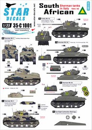 Star Decals  1/35 South African Shermans in Italy 1943-45 - Mk.III, Mk.IIA, Firefly Mk.VC 35-C1001