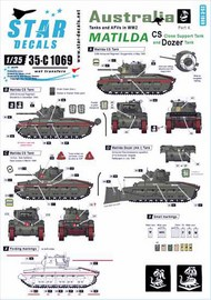 Star Decals  1/35 Australia Tanks & AFVs # 4. MATILDA. CS - Close Support Tank and Dozer Tank in the PTO. 35-C1069