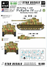Star Decals  1/16 Pz.Kpfw.IV Ausf.J - SS-Pz.Reg. 1 LAH. LAH - Leibstandarte Adolf Hitler, in France 1944.Option for tank 741 and 743. STAR16001