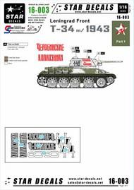 Star Decals  1/16 Soviet T-34 model/1943 - T-34 model/1943 Leningrad front early 1943. STAR16003