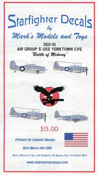 Starfighter Decals  1/350 Air Group 5 USS Yorktown CV5 Battle of Midway. SFA350051