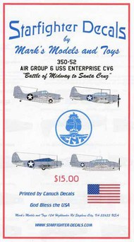 Starfighter Decals  1/350 Air Group Six / Ten USS Enterprise June-Nov.'42. SFA350052