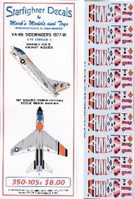 Starfighter Decals  1/350 A7E Corsair II VA86 Sidewinders 1977-81 & Iranian Hostage Rescue Mission SFA350105