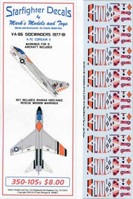 Starfighter Decals  1/350 Vought A-7E Corsair VA-86 Sidewinders. SFA350105S