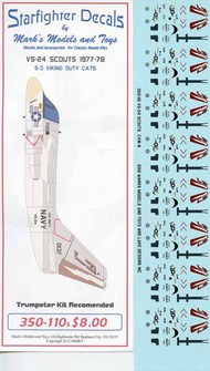 Starfighter Decals  1/350 Lockheed S-3B Vikings. SFA350110S