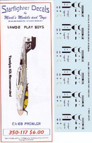 Starfighter Decals  1/350 EAB Prowlers VMAQ2 Play Boys Air Wing 8 USS Nimitz 1981 for TAM SFA350117