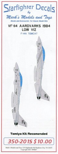 Starfighter Decals  1/350 VF-114 Aardvarks 1984 Low Viz F-14 Tomcat for TAM SFA350201
