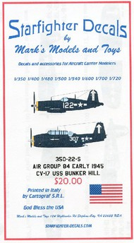 Starfighter Decals  1/350 USS Bunker Hill CV17 Air Group 84 Early Markings 1945 SFA35022