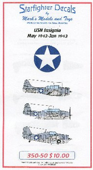 Starfighter Decals  1/350 USN Insignia May 1942 to June 1943 for Merit SFA35050