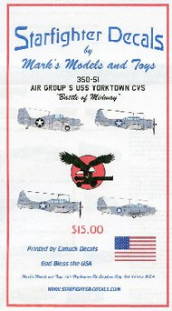 Starfighter Decals  1/350 Air Group 5 USS Yorktown CV5 Battle of Midway for Merit SFA35051