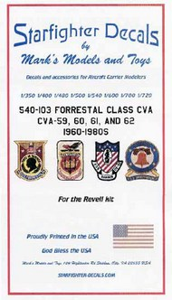 Starfighter Decals  1/350-1/720 USS Forrestal Class CVA59/60/62 1960-1980s for RVL SFA540103