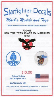 Starfighter Decals  1/700 USS Yorktown Class CV Markings 1942 SFA700102