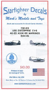 Starfighter Decals  1/700 USS Enterprise CV6 AG20/AG(N)90 1944-45 SFA700103
