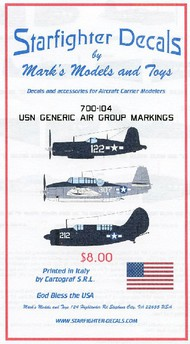 Starfighter Decals  1/700 USN Generic Air Group Markings 1944-45 SFA700104