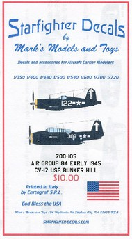 Starfighter Decals  1/700 USS Bunker Hill CV17 Air Group 84 Early Markings 1944-45 (D)<!-- _Disc_ --> SFA700105