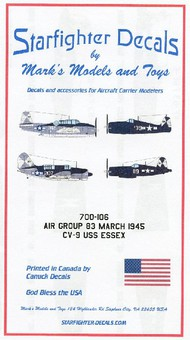 Starfighter Decals  1/700 USS Essex CV9 Air Group 83 Mar 1945 for DML & TSM (D)<!-- _Disc_ --> SFA700106