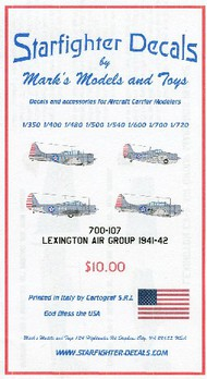 Starfighter Decals  1/700 USS Lexington Air Group 1941-1942 for TSM SFA700107