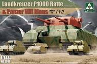 Takom  1/144 WWII Landkreuzer P1000 Ratte (Prototype) Tank & Two Panzer VIII Maus Heavy Battle Tank (3 Kits) TAO3001