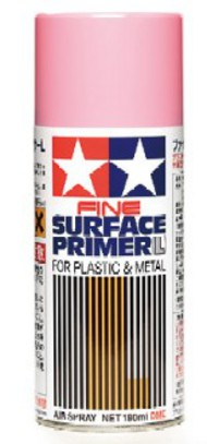 Tamiya Accessories  Primer Fine Surface Primer L for Plastic & Metal Pink (180ml Spray) TAM87146