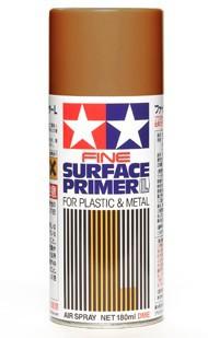 Tamiya Accessories  Primer Fine Surface Primer L for Plastic & Metal Oxide Red (180ml Spray) TAM87160