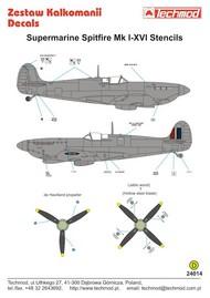 Techmod Decals  1/24 Supermarine Spitfire Stencils (Mk.VIII Mk.Vc TCD24014