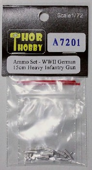 THOR HOBBY  1/72 WWII German 15cm Heavy Infantry Gun Aluminum Ammo Set (5ea of 2 diff & 10 powder casings) (D)<!-- _Disc_ --> THH7201