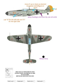 Top Notch  1/24 Messerschmitt Bf.109F-2/Bf.109F-4/Bf.109G-2/Bf.109G-4 pt 1 camouflage pattern paint mask TNM24-M021