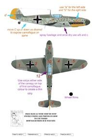 Top Notch  1/24 Messerschmitt Bf.109F-2/Bf.109F-4/Bf.109G-2/Bf.109G-4 pt 2 camouflage pattern paint mask TNM24-M022