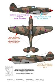 Top Notch  1/24 Curtiss P-40B/P-40C Kittyhawk RAF/AVG early camouflage pattern paint mask TNM24-M041