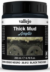 Vallejo Paints  No Scale 200ml Bottle Black Thick Mud Diorama Effect VLJ26812