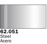 Vallejo Paints  AcrylicMetallic 60ml Bottle Metallic Steel Premium VLJ62051