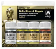 Vallejo Paints  AcrylicMetallic 35ml Bottle Liquid Gold, Silver, Copper Metallic Model Color Paint Set (4 Colors) VLJ70199