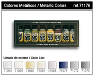 Vallejo Paints  ModelAir 17ml Bottle Metallics Model Air Paint Set (8 Colors) VLJ71176