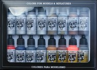 Vallejo Paints  ModelAir 17ml Bottle Metallics Model Air Paint Set (16 Colors) VLJ71181