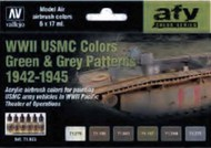 17ml Bottle WWII USMC Green & Grey Patterns 1942-1945 Model Air AFV Paint Set (6Colors) #VLJ71623