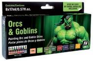 Vallejo Paints  GameColor 17ml Bottle Orcs & Goblins Game Color Paint Set (8 Colors) VLJ72304