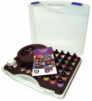 Vallejo Paints  Vallejo Game Color Basic Game Air Paint Set in Plastic Storage Case (28 Colors, Thinner, Cleaner & Airbrush w/Hose) VLJ72871