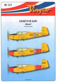 Vingtor - late sheets  1/48 Saab 91B Safir - RNoAF (1/72 & 1/48 scale on one sheet) VTHM121