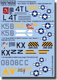 Warbird Decals  1/144 B-26 Hamilton Hey Maker II, Idiots Delight, Slow Starter, Victory Read WBS144006