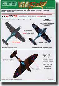 Warbird Decals-Kits World  1/32 Multi-Scale 1/72, 1/48 & 1/32 Walkway Lines Corners/Stenciling  WBS174322