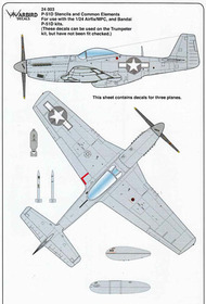 Warbird Decals  1/24 P-51D Mustang Stencils and Common Elements WBD24003