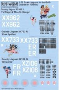 Kits-World  1/32 Sepecat Jaguar GR1A Operation Granby Fat Slags, Pink Spitfire, Britannia (D)<!-- _Disc_ --> WBS132022