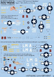 Warbird Decals  1/144 P47D Squirt II, Miss Mutt Pride of Lodi Ohio, Button Nose, Triss WBS144047