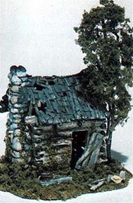 Woodland Scenic  HO Mini Scene Kit- Abandoned Log Cabin WOO101