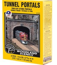 Woodland Scenic  N Cut Stone Double Tunnel Portal (2) WOO1157