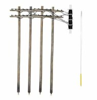 HO Pre-Wired Poles Double Crossbar - Pre-Order Item WOO2266