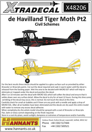 de Havilland DH.82a Tiger Moth Pt2 Civil Schemes (4) #XD48206
