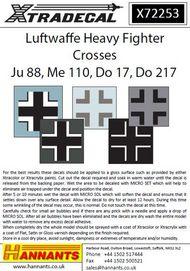 Luftwaffe Heavy Fighter Crosses for Junkers J* #XD72253