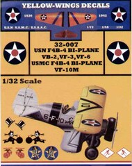 Yellow Wings Decals  1/32 USN/USMC Boeing F4B-4 Bi-Plane Fighter Part 1 YWD32007